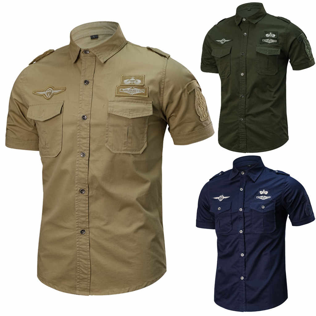 2019 Hot Sales Casual Mode Militaire Pure Kleur Pocket Korte Mouwen Losse Shirt Tops Hoge Kwaliteit Mode Comfortabele