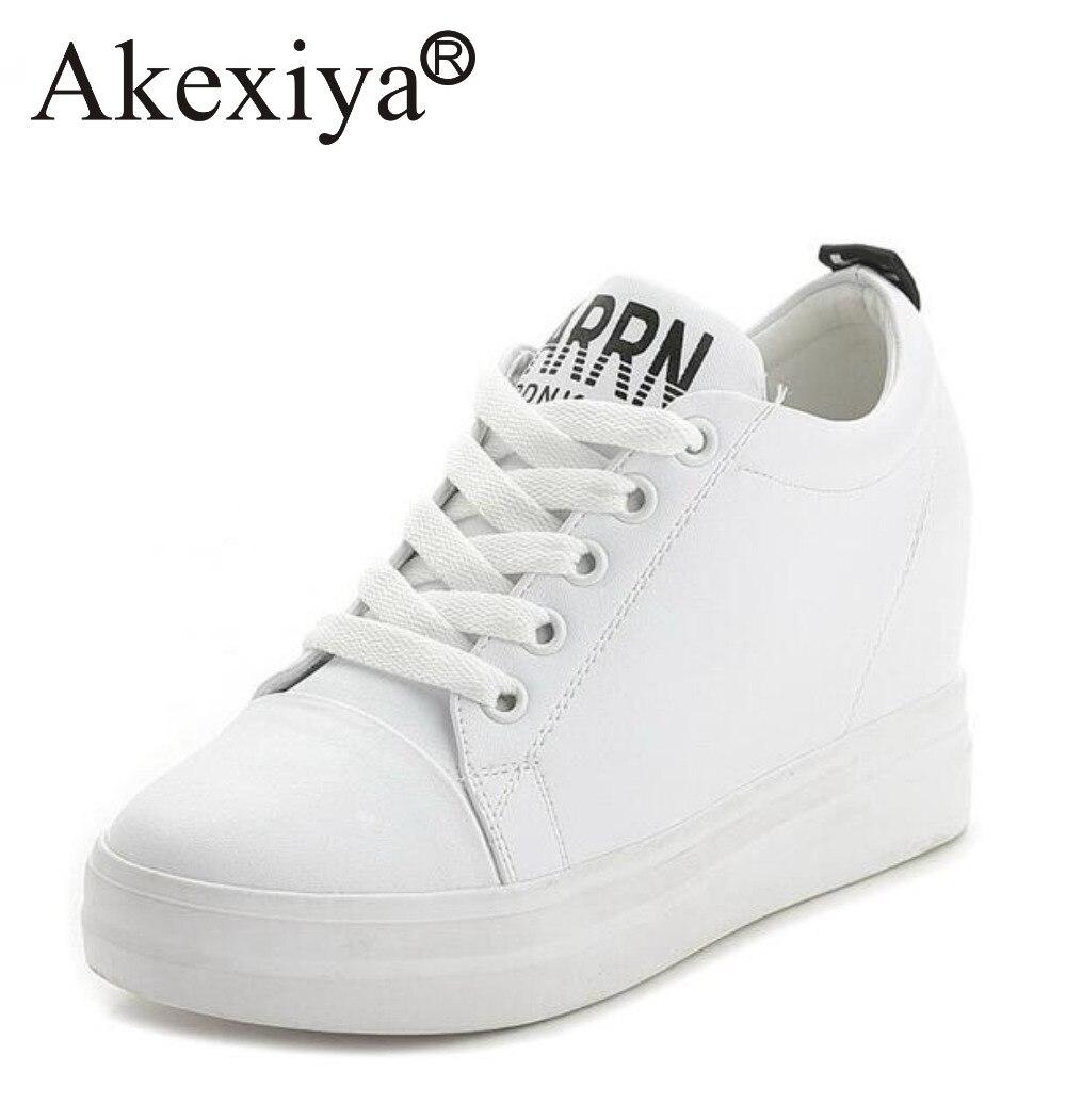 e008da8d1656 Akexiya Spring Autumn Women Hidden Heels Wedge Sneakers Running Shoes Black  White Platform PU Leather Waterproof