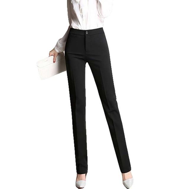 2017 New arrival Women Straight Pants Plus Size OL Suit Pants  Fashion Slim Button Trousers Casual Work Pants for Women