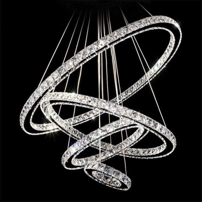 Modern 60 70 90cm Crystal Led Chandeliers Ceiling Lights: 4 Rings LED Crystal Chandeliers Lamp Round Ring Hanging