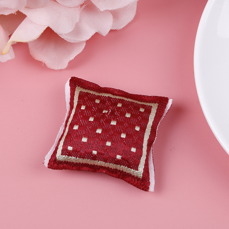 PEACH COLORED  ROSE ON WHITE SATIN MINI PILLOWS FOR YOUR MINIATURE DOLL HOUSE