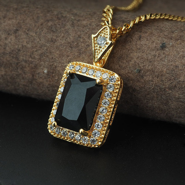 New Gold Charm Black Red Gem Pendant Necklace Bling Iced Out Stone Link Chain Hip Hop for Men Women Jewelry Gifts