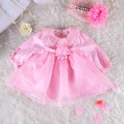 Розовое кружевное платье с длинным рукавом для маленьких девочек на 1 год, платье принцессы для маленьких девочек, платье для крещения и кре...