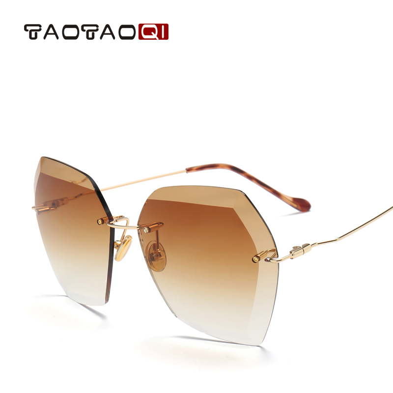 TAOTAOQI Luxury Sunglasses Women Designer Brand Fashion Rimless Sun Glasses Female UV400 Vintage Eyewear Oculos de sol oculos anti uv fashion mirror big box sun glasses female