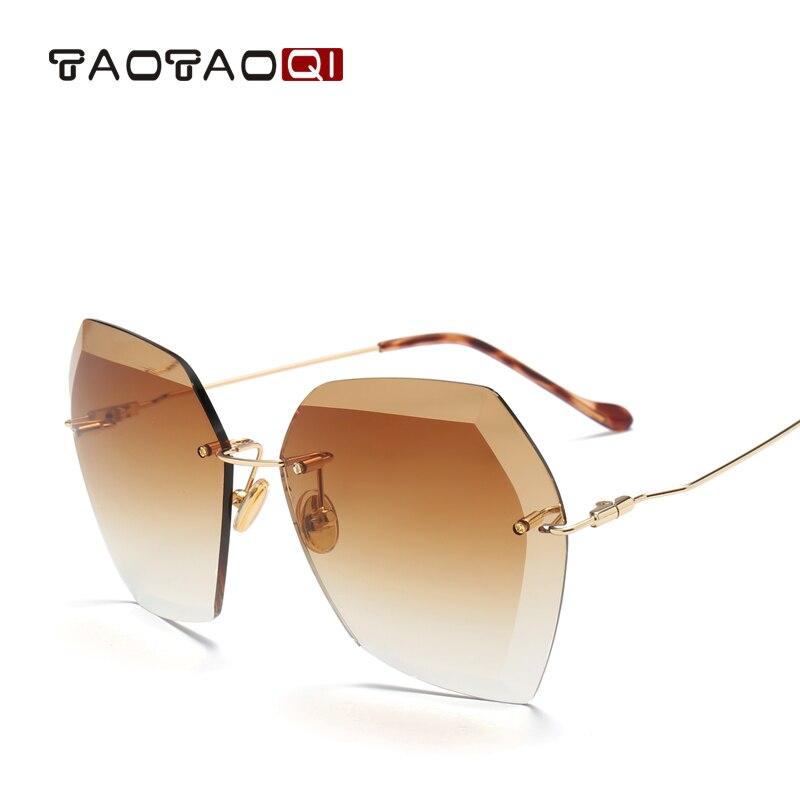 TAOTAOQI de Luxe lunettes de Soleil Femmes Designer Marque de Mode Lunettes de Soleil Sans Monture Femelle UV400 Vintage Lunettes Oculos de sol