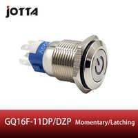 GQ16F-11DP/DZP 16mm Rast/Momentary LED licht Leucht power logo metall push button switch mit flache runde