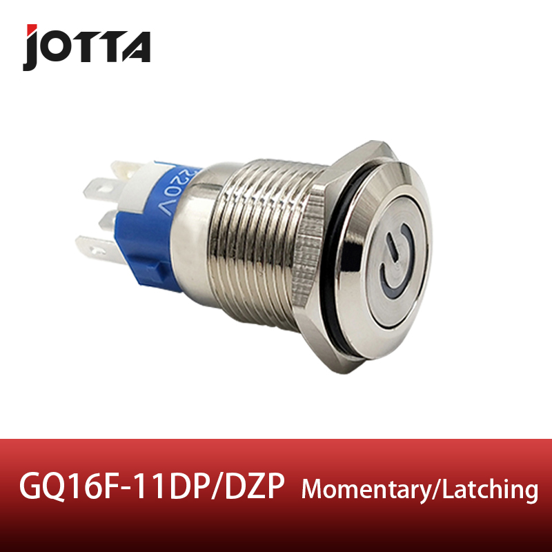 GQ16F 11DP DZP 16mm Latching Momentary LED light Luminous power logo metal push button switch with flat round in Switches from Lights Lighting
