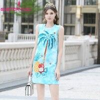 Summer Women Sundress 2019 Runway Coconut Tree Jacquard Print Tank Dress Gems Beading Sleeveless Causal Work Beach Dresses