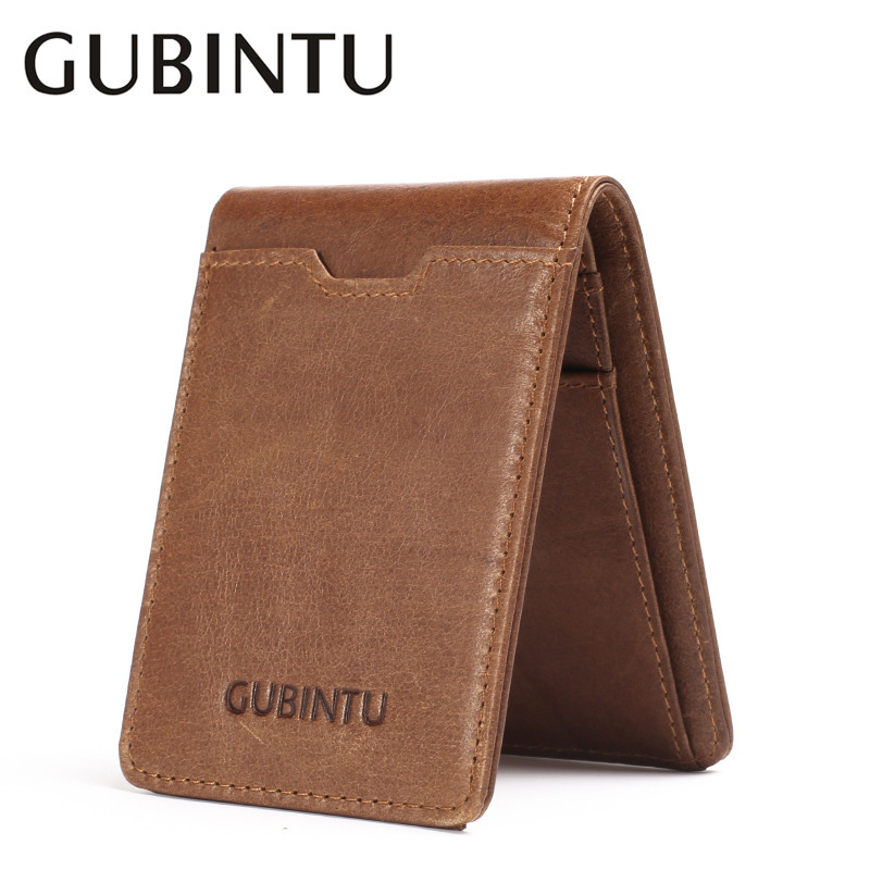 GUBINTU Brand New Wallet Men Genuine Leather Vintage Short Solid RFID Protection Card Purse Designer Cow Leather Men Wallets new fashion gubintu removeable pocket men vintage wallets cow genuine leather wallet brand purse card holder coin purse jan 19