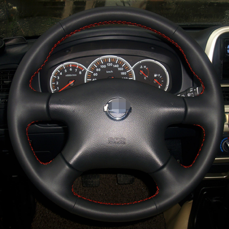 Couro preto Cobertura de Volante para Nissan Almera N16 Pathfinder Primera XTrail Paladin Velho 2001-2006 Renault Samsung SM3