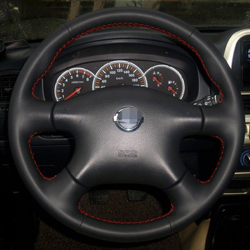 Noir Couverture de Volant En Cuir pour Nissan Almera N16 Pathfinder Primera Paladin Vieux XTrail 2001-2006 Renault Samsung SM3
