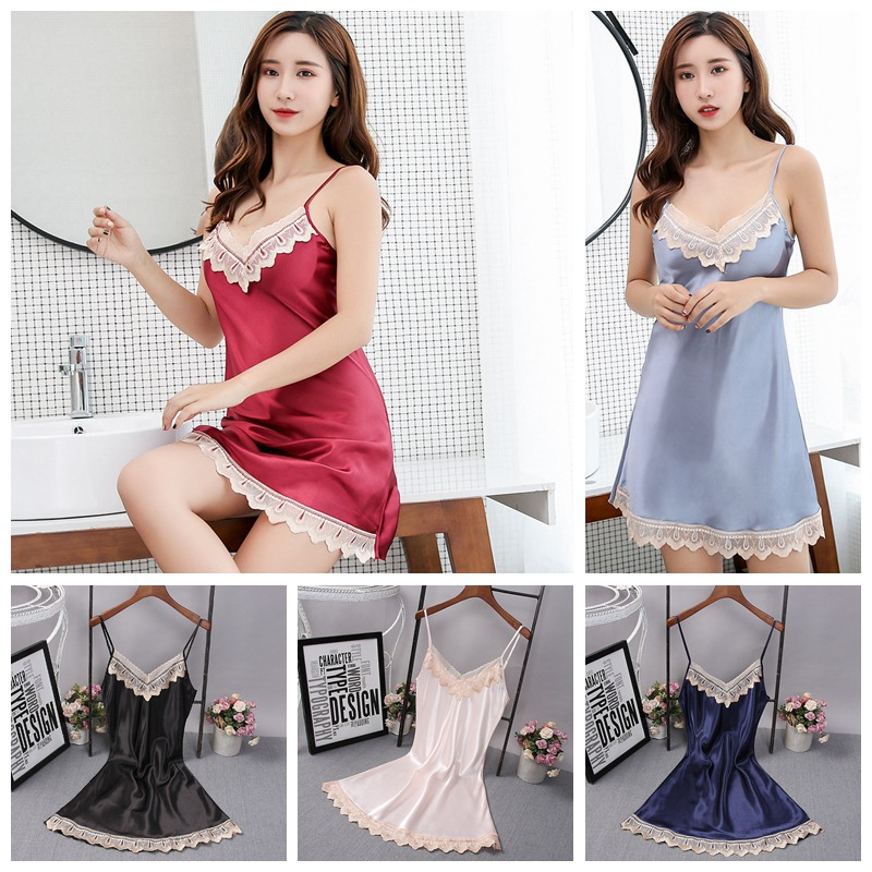 WEIXINBUY Women <font><b>Sexy</b></font> <font><b>Lingerie</b></font> Sleepwear Chiffon Lace Dress <font><b>Push</b></font> <font><b>Up</b></font> Padded Bra <font><b>Sexy</b></font> Underwear Babydoll <font><b>Lingerie</b></font> Sleepwear image