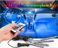 Hot Wireless Remote Music Voice Remote Control Car 7 Color LED Neon Interior Light Lamp Strip