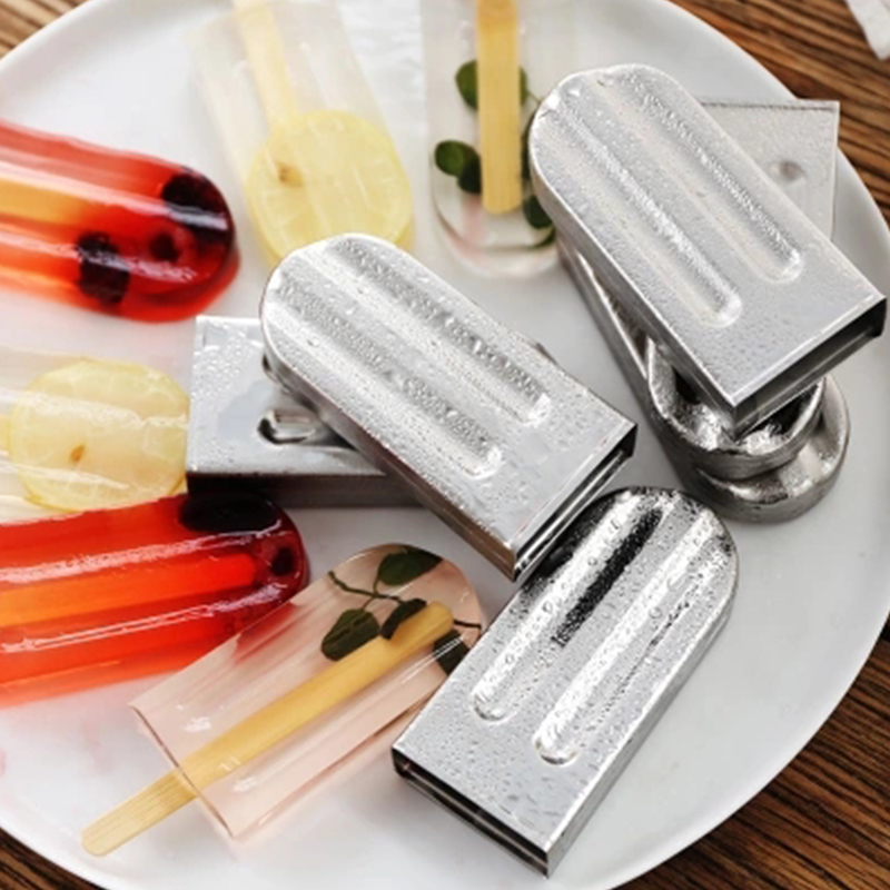 Frozen Stainless Steel Popsicle Molds Ice Cream Stick Holder 6 Molds Silver Home DIY Ice Cream Moulds Round/Flat Ice Pop Mould