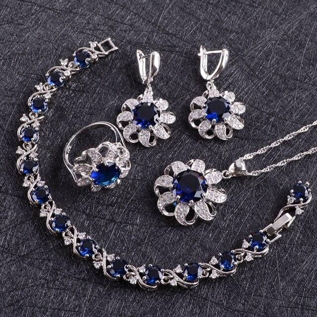 Blue Zircon Costume Silver 925 Jewelry Sets Women Earrings With Stones Bracelets