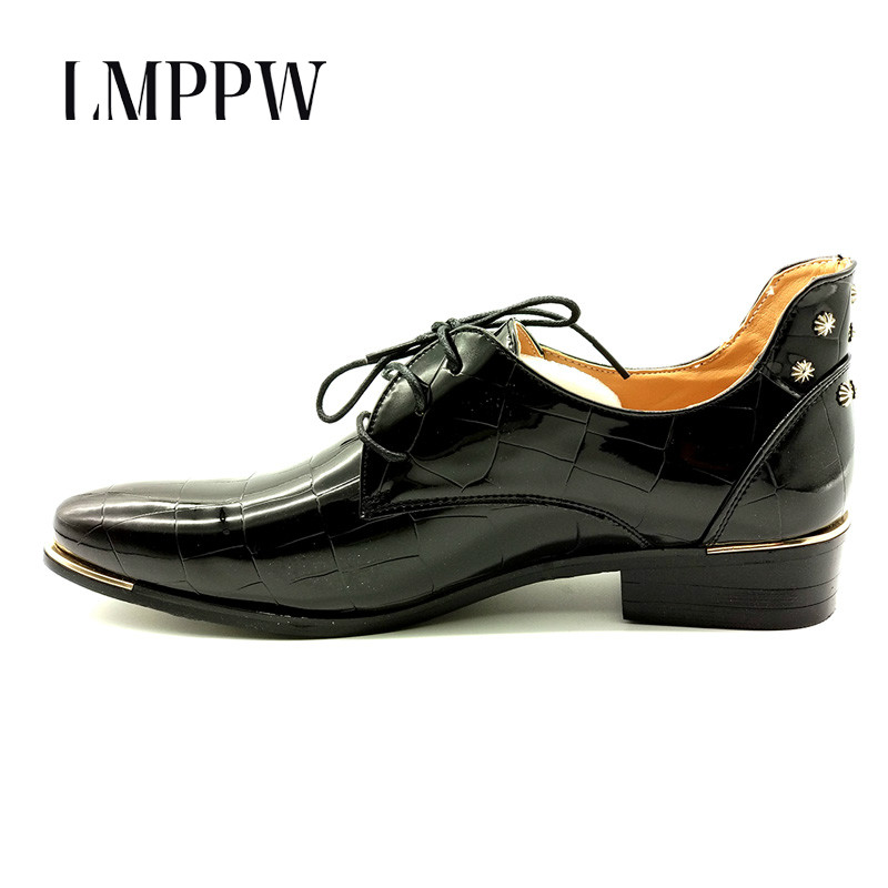Big Size Men Flats Casual Shoes Patent Leather Luxury Brand Moccasins Pointed Toe Lace-up Oxfords Business Dress Shoes Classical