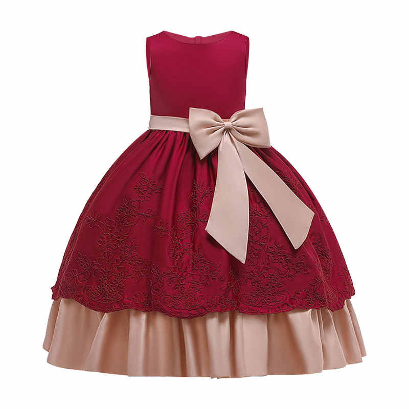 Vestito da ragazza di fiori ricamo di seta grande fiocco tutu ragazza europea e americana principessa abito da sposa 3-14Y bambi