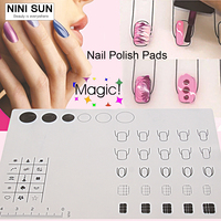 Nail Art Manicure Silicone Mat For Stamping Reverse Stamp Transfer Water Marble Practice Workspace Design Plate