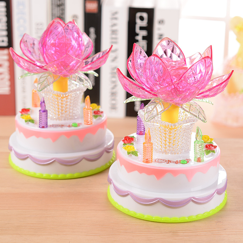 Creative Pink Cake Eight Music Box Rotating Flash Lotus Lamps Girls