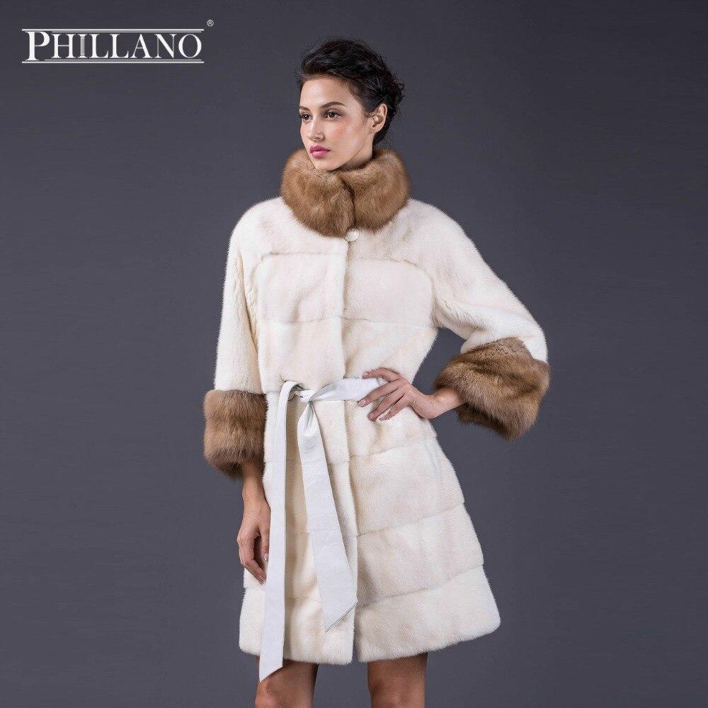 PHILLANO dámský kabát s novým stylem z pravé kůže, perla, kvalitní, jemná srst, srst, ženy, přírodní, kabáty