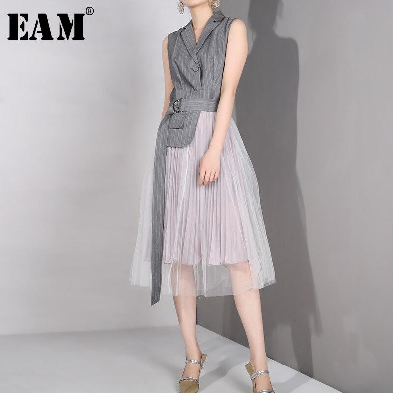 [EAM] 2019 nouveau printemps été revers sans manches gris Straped Mesh Split Joint lâche tempérament robe femmes mode marée LD6270