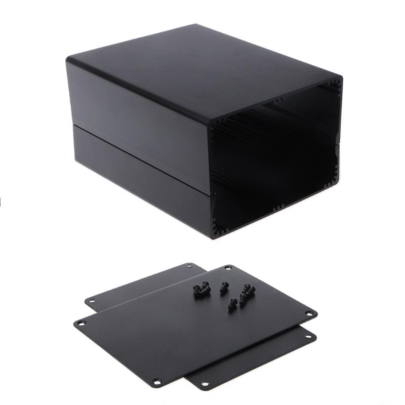 1Pc Aluminum Enclosure DIY Project Case Power Junction Box 155x120x83mm Black W715 1pc mayitr waterproof junction box dustproof abs distribution box housing diy electric enclosure case 6 ports for electronics