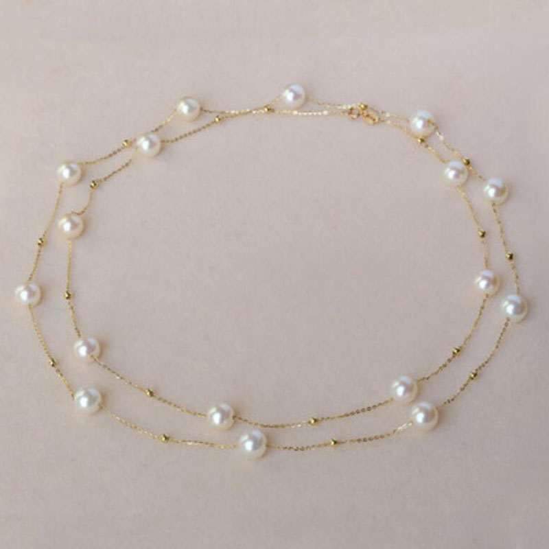 Classical 18k gold beads and pearls star family necklace choker sweater chain for women ladies Mom girls best gift in summerClassical 18k gold beads and pearls star family necklace choker sweater chain for women ladies Mom girls best gift in summer