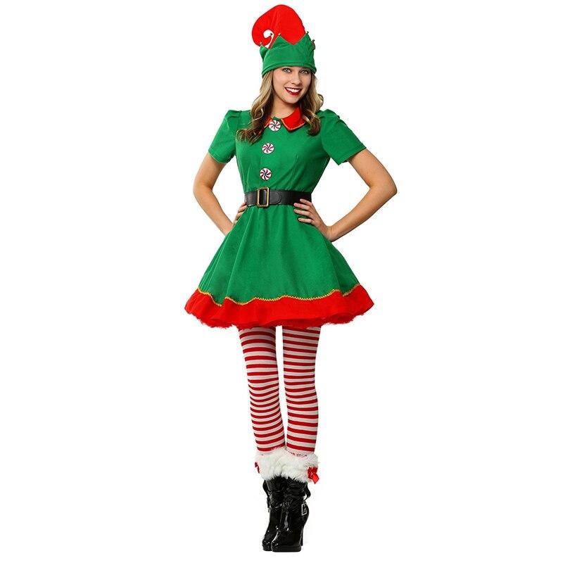 adulto mujeres de santa claus ayudante de prestigio verde vacaciones elfo traje de navidad dulce vestido