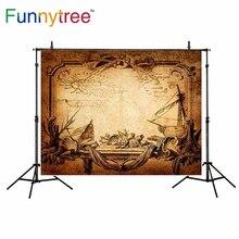 Funnytree backdrop para estúdio de fotografia aventura pirata mapa do tesouro do vintage shell fundo fotografia photobooth photocall