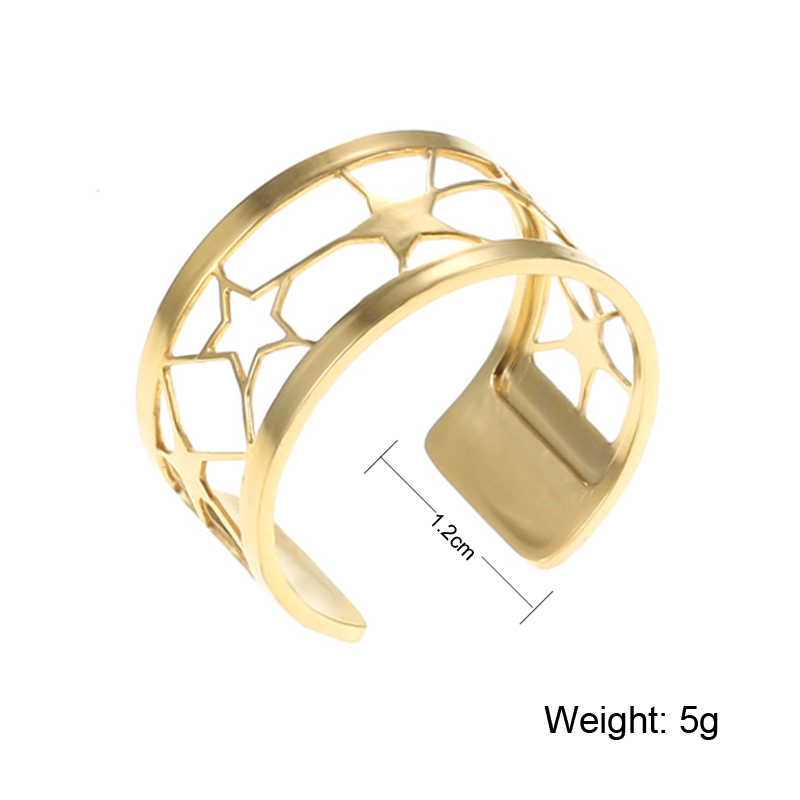 Crem 2019 Trendy Stainless Steel Free Size Two Line Ring Style Gold Adjustable Leather Anniversary Ring Jewelry Gift for Her