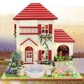 Вилла модель Кукольный Дом Включают Пылезащитный Чехол и Мебель Diy Миниатюрный 3D Деревянные Головоломки Кукольный Домик CreativeBirthday Подарки Игрушки