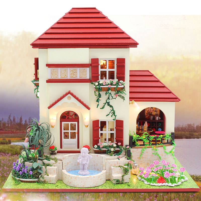 ФОТО Villa model Doll House Include Dust Cover&Furniture Diy Miniature 3D Wooden Puzzle Dollhouse  CreativeBirthday Gifts Toys