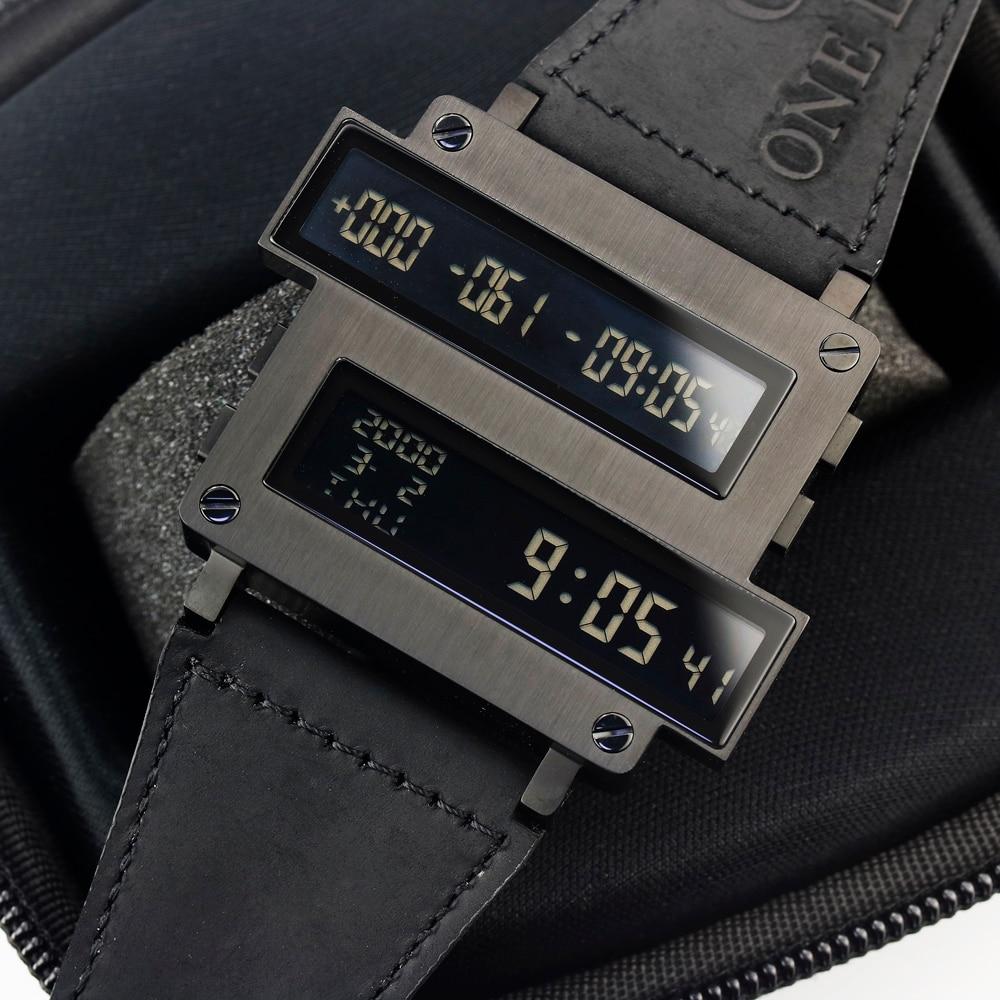 Lendemo ONE LIFE Series Top Man cible compte à rebours numérique heures horloge LED noir 316 T acier cuir de veau montre limitée Original - 2