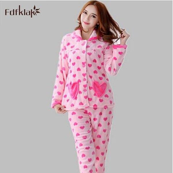 51066f38c443e 2018 Salon de vêtements de nuit des femmes automne hiver pijama flanelle  femmes corail polaire pyjamas femmes épaississement à manches longues  pyjamas
