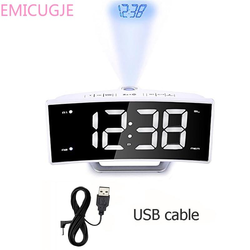 Mirror FM Radio Digital Electronic Table Alarm Clock LED Projector Clock Desk Nixie Projection Alarm Clock With Time Projection
