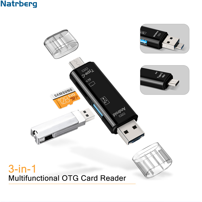Natrberg USB Stick Reader Type C Micro SD USB OTG Card Adapter 3 In 1 USB-C Flash Stick TF Read For Android Mobile Phone PC Mac
