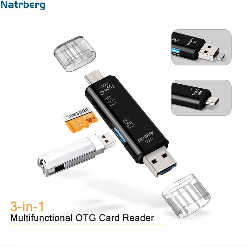 Natrberg USB Stick Reader Type C Micro SD USB OTG Card Adapter 3 In 1 USB
