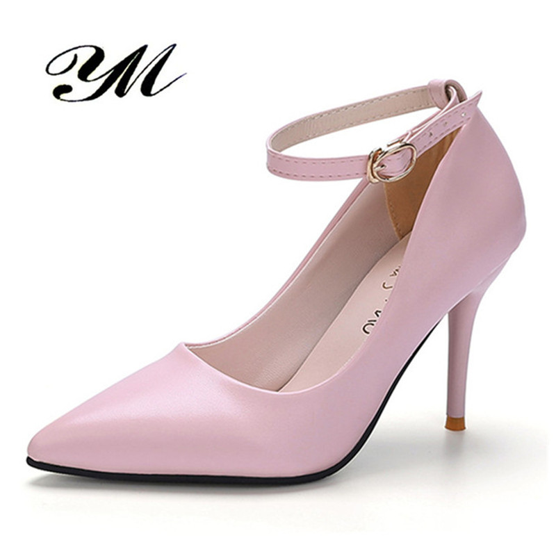 YM Pumps Shoes Women Zapatos Mujer Wedding Buckle Strap Shoes Stiletto Valentine Extreme Party Bridal Summer White Black Pink women t strap moccasins flat shoes low heel sandals black gray pink pointed toe ballet flats summer buckle zapatos mujer z193