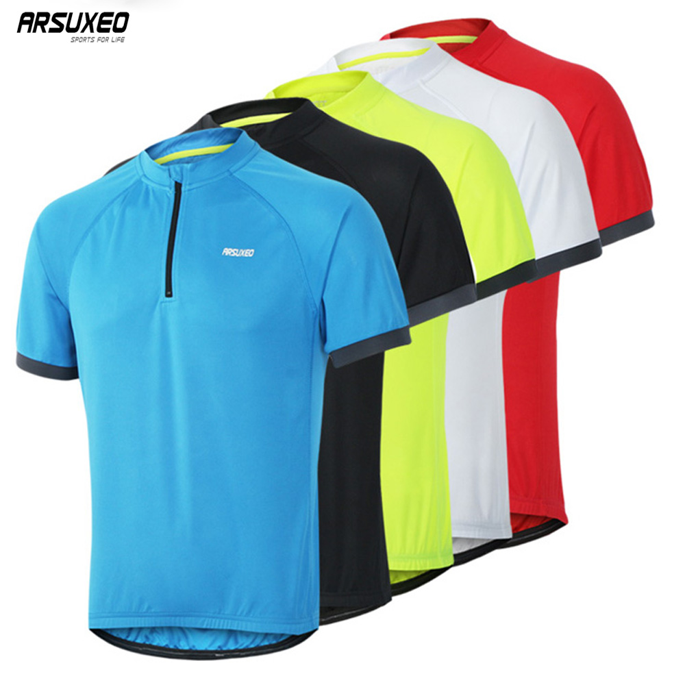 ARSUXEO 1/4 Zipper Cycling Jersey Short Sleeves Summer Bike Jerseys Rflective MTB Cycling Bike Shirts Drying Fast UV 635 2015 arsuxeo mtb 1202