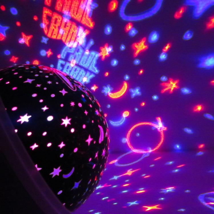 novo led lua estrela rotacao ceu romantico a luz da noite projetor estrela lua luz da