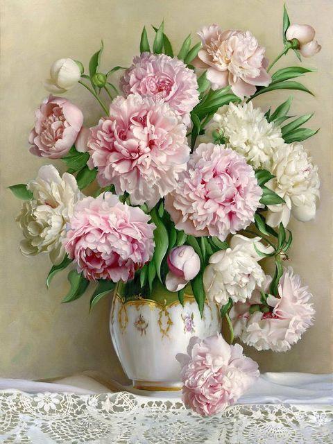 5d diy diamant schilderen mooie pioen bloem, shiny diamond sticker ...