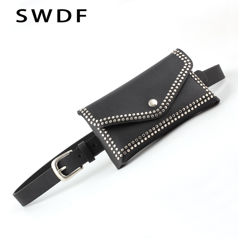SWDF Women's Fashion Pockets Detachable Belt Round Rivet Pockets Waist Bags Decorative Women's Belt Bag Phone Bag Handbags