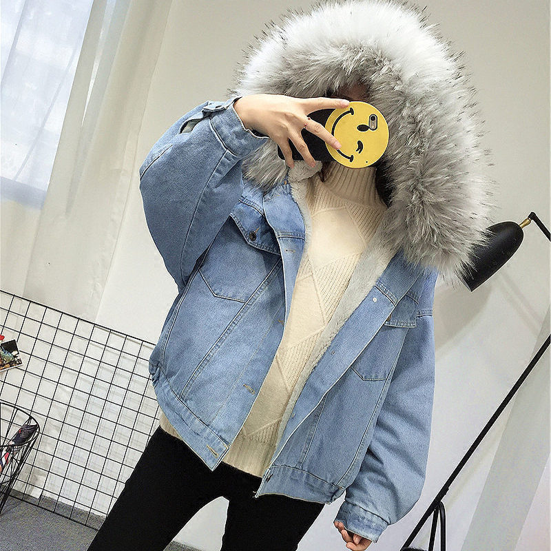 HTB1fEZpGL5TBuNjSspcq6znGFXa4 Elexs velvet thick denim jacket female winter big fur collar Korean locomotive lamb coat female student short coat 72510