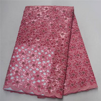 Latest High quality African lace fabric for wedding 2018 Polyester pink Sequins Organza African French lace fabric