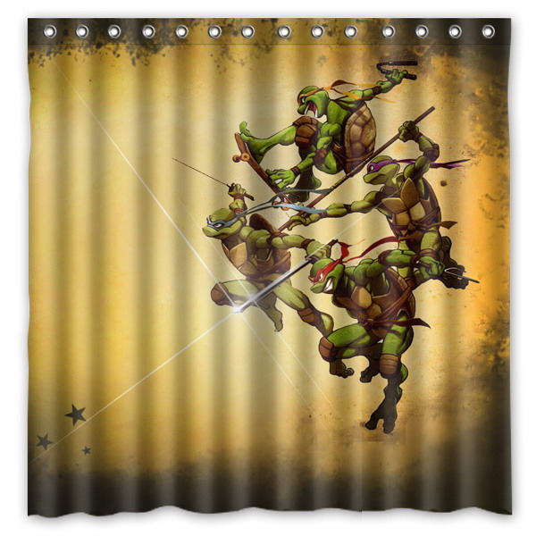 New Arrival Polyester Terylene Waterproof Teenage Mutant Ninja Turtles Print Shower Curtain Thicken Curtains 180 Cm