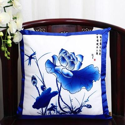 Классические Лоскутные цветочные шелковые наволочки для декоративных подушек подушечки высокого качества стул для дома офиса диванная подушка крышка - Цвет: Lotus
