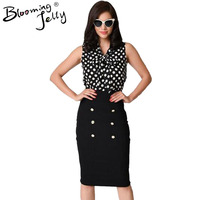 Blooming Jelly Tuxedo Pussy Front Bow Polka Dot High Waist Vintage Midi Bodycon Dress Pencil Button