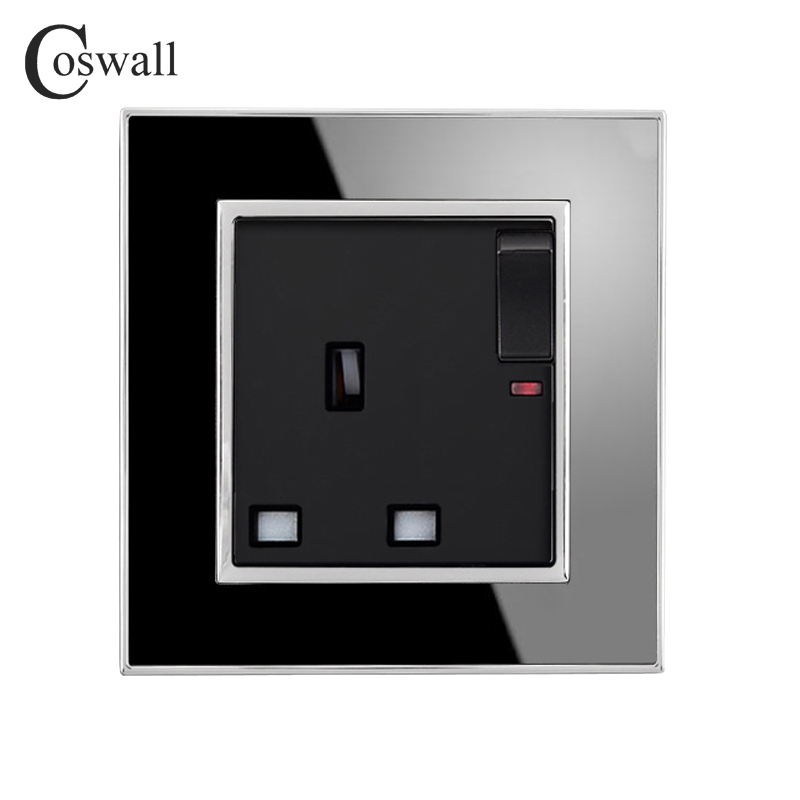 Coswall Brand 13A UK Standard Switched Socket with Neon Luxury Wall Power Outlet Acrylic Crystal Mirror Panel Electrical PlugCoswall Brand 13A UK Standard Switched Socket with Neon Luxury Wall Power Outlet Acrylic Crystal Mirror Panel Electrical Plug