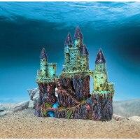 24cm Aquarium Artificial Castle Stone Decoration Fish Tank Ancient Castle Tower Ornament Aquatic Rock Cave Fish Shrimp Hiding