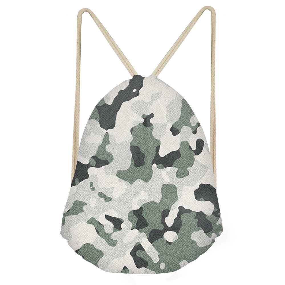 Simple Women Men Drawstrings Bags 3D Camouflage Printed Boys Girls Storage Backpacks Multifunction Travel Beach BagsSumka